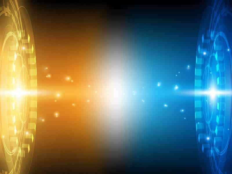 blue and orange lights