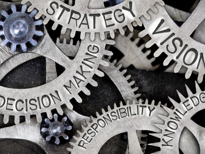 cogs with strategy words