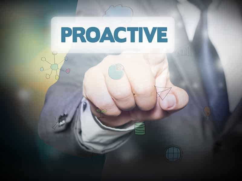 finger pointing to word proactive