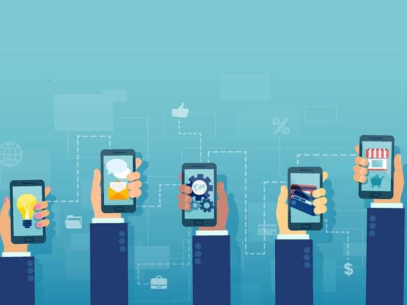 cartoon hands holding smartphones
