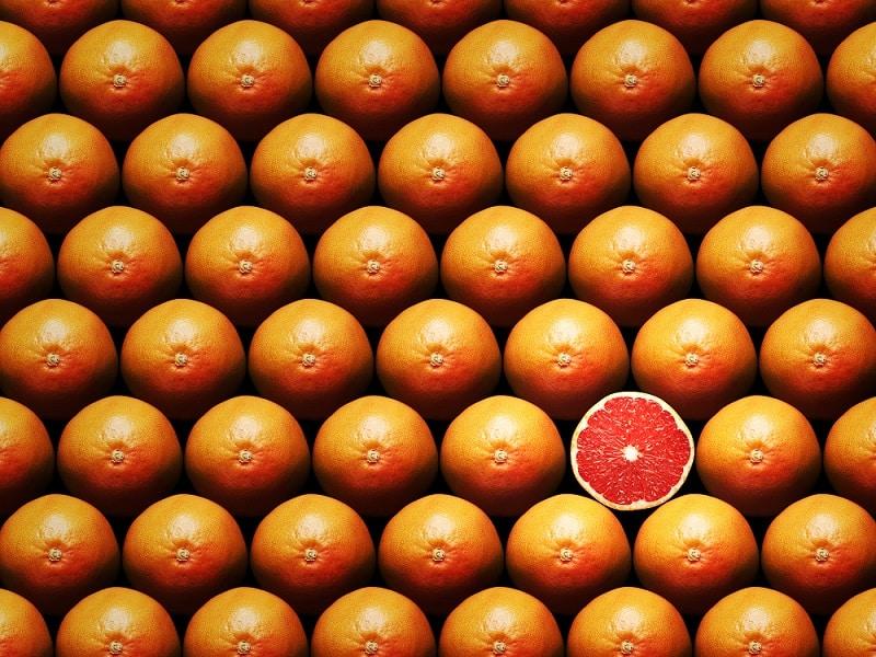 oranges one cut in half