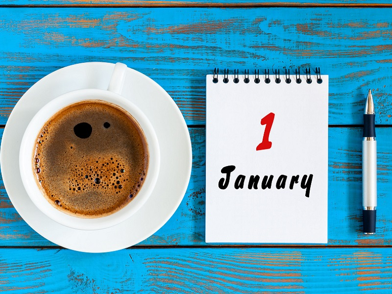 cup of coffee and calendar 1st January