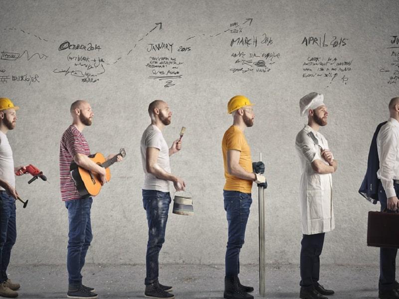 career men in line