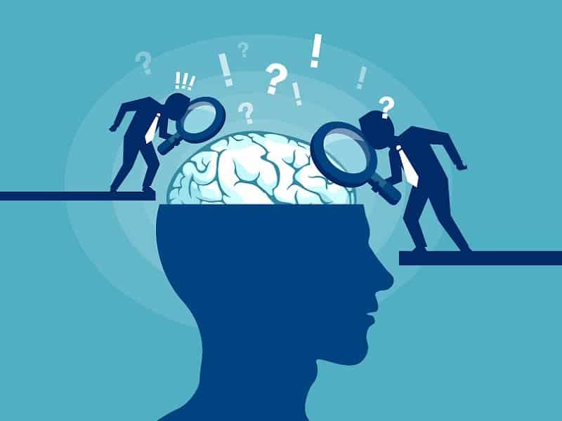 cartoon men looking at brain