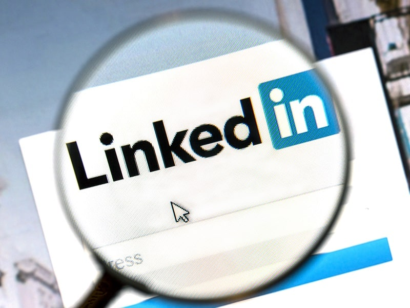 LinkedIn through magnifying glass