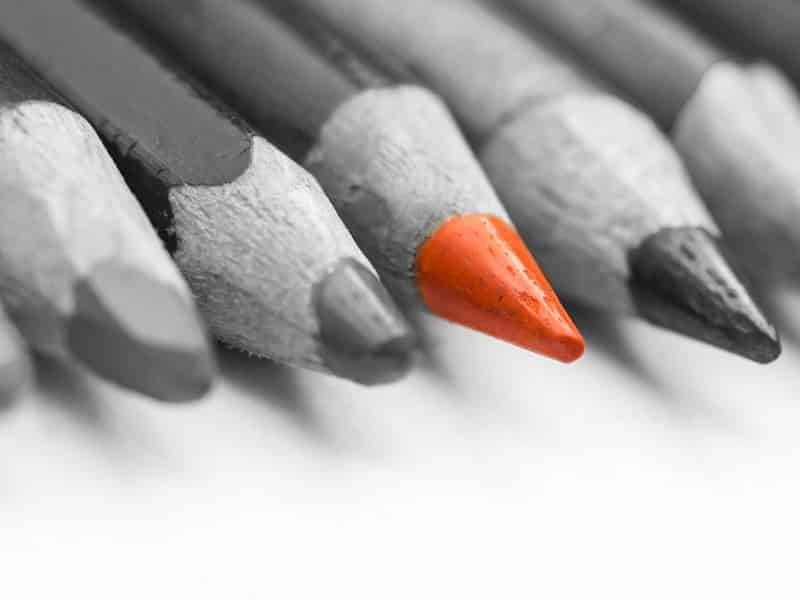 standout orange pencil