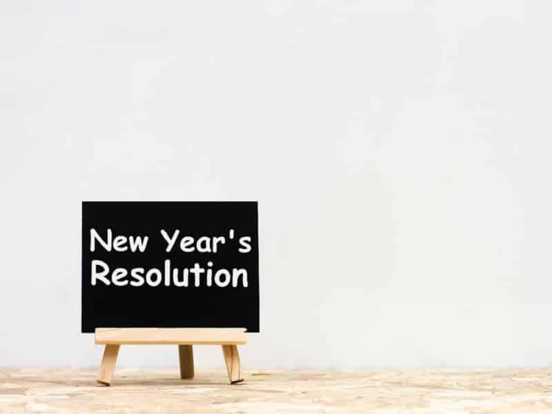new years resolutions on blackboard