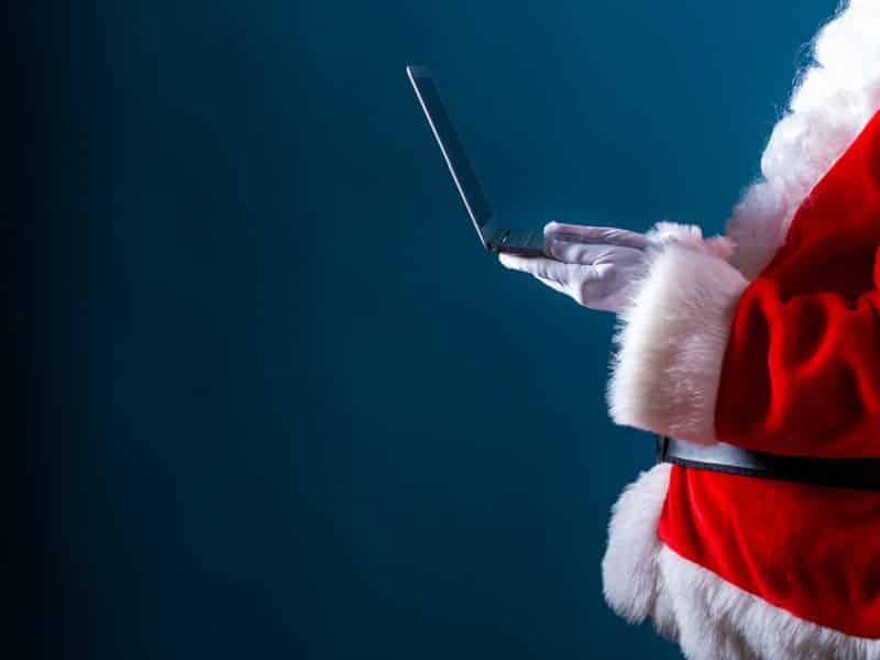 santa on laptop