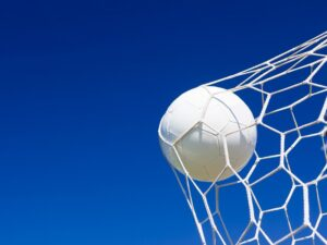 close up football in net