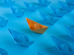 one orange standout boat